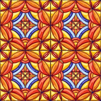 Keramische tegelpatroon. typische sierlijke portugese of italiaanse keramische tegels. decoratieve abstracte achtergrond.