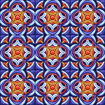 Keramische tegelpatroon. typische sierlijke portugese of italiaanse keramische tegels.