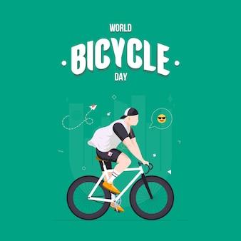 Kerel die een fiets berijdt en aan muziek vierkante illustratie luistert. wereldfietsdag op juni. fiets als symbool van menselijke vooruitgang en vooruitgang. sport en vrije tijd. buiten actief.