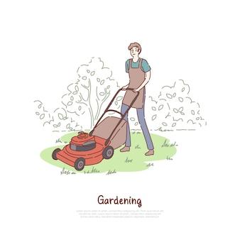 Kerel die met grasmaaier werkt