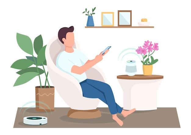 Kerel in moderne woonkamer platte ontwerp kleur anonieme karakter
