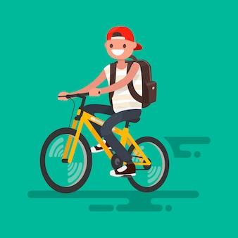 Kerel met een rugzak die een fietsillustratie berijden