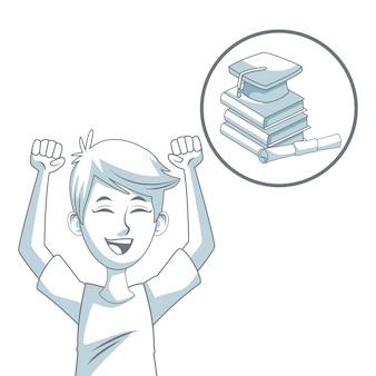 Kerel student en circulaire pictogram stapel boeken met afstuderen cap en certificaat