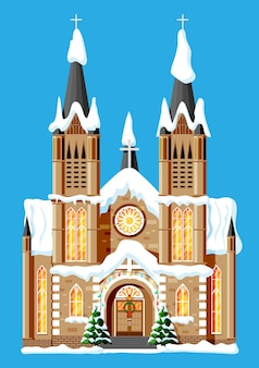Kerk bedekte sneeuw. kapelgebouw in vakantieornament. kerstboom spar, krans. gelukkig nieuwjaar decoratie. vrolijk kerstfeest. nieuwjaar en kerstviering. platte vectorillustratie