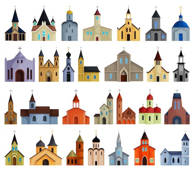 Kerk cartoon ingesteld pictogram. illustratie religie voortbouwend op een witte achtergrond. de geïsoleerde kerk van het beeldverhaal vastgestelde pictogram.