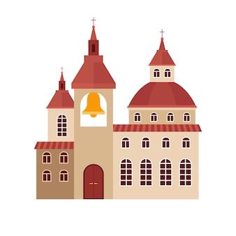 Kerk die vlakke kleurrijke vectorillustratie bouwen