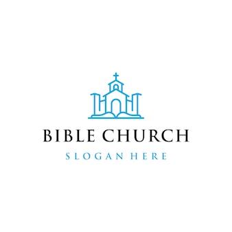 Kerk en bijbel logo design met ontwerpstijl