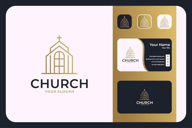 Kerk lijn kunst elegant logo ontwerp en visitekaartje