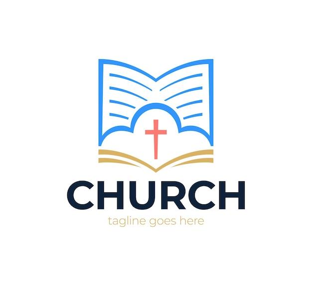 Kerk logo, kruis en abstract bijbel religie symbool