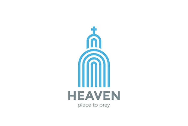 Kerk logo religie logo. lineaire stijl