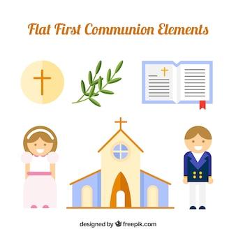 Kerk met kinderen van communie en religieuze elementen