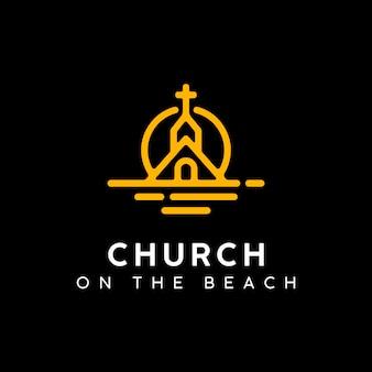 Kerk ont bij het sunset beach-embleemontwerp