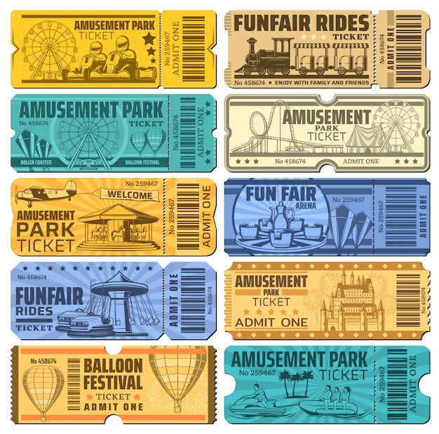 Kermis carnaval en pretpark rijdt kaartjes