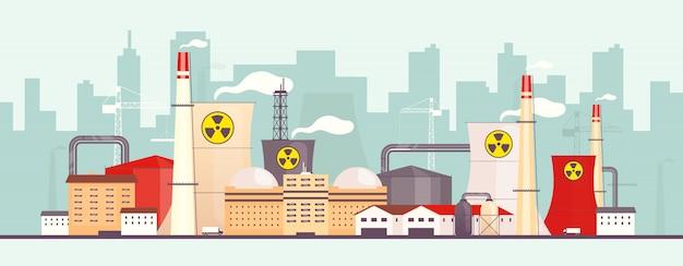 Kerncentrale in de buurt van de stad