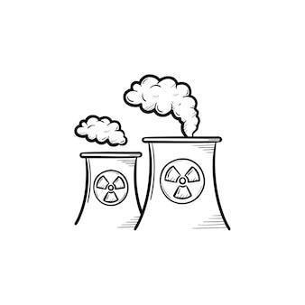 Kerncentrale met rook hand getrokken doodle pictogram. vervuiling van het milieu door kerncentrale schets vectorillustratie om af te drukken, mobiel en infographics geïsoleerd op een witte achtergrond.