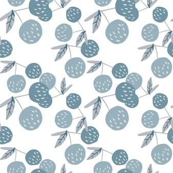 Kersen bessen en bladeren naadloze patroon