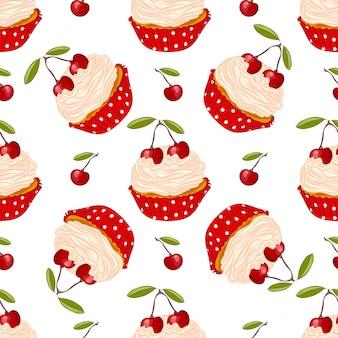 Kersen cupcake naadloos patroon
