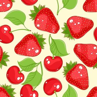 Kersen en aardbeien