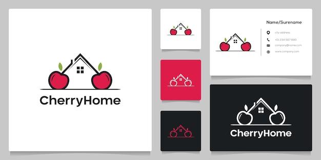 Kersen huis onroerend goed eenvoudige concepten met visitekaartje