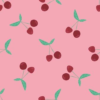 Kersenbessen en bladeren naadloos patroon