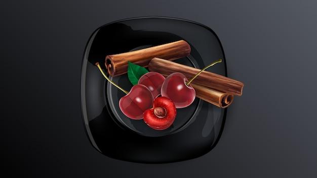 Kersenbessen en pijpjes kaneel op een zwarte schotel.
