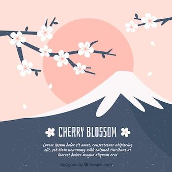 Kersenbloesem achtergrond in platte ontwerp