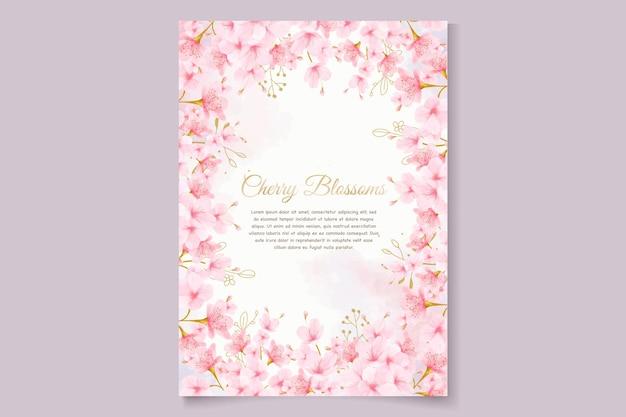 Kersenbloesem aquarel uitnodigingskaart