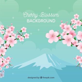 Kersenbloesem backgorund in vlakke stijl