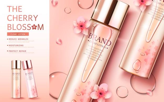 Kersenbloesem huidverzorgingsbanner met platliggend product en sierlijke bloemblaadjes in 3d-stijl Premium Vector