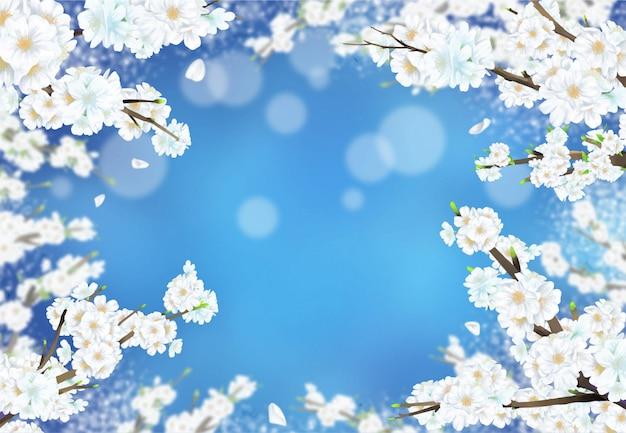 Kersenbloesem illustratie in volle bloei tegen een blauwe nacht achtergrond.