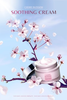 Kersenbloesem kalmerende crème in adembenemende sakuraboom, op blauwe hemelachtergrond