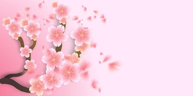 Kersenbloesem, sakura gestanste bloemen die naar beneden vallen