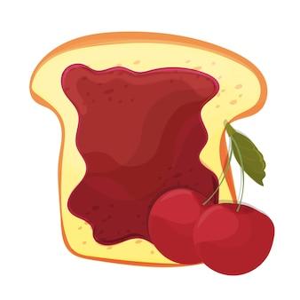Kersenjam op toast met gelei. gemaakt in cartoonstijl. gezonde voeding