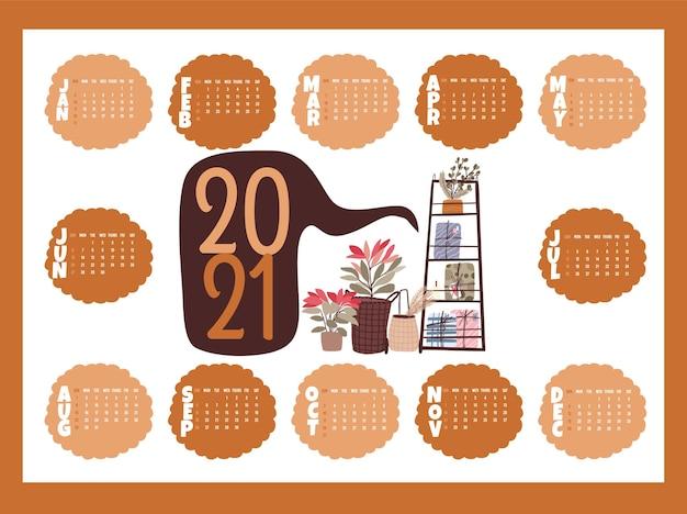 Kerst 2021 kalender vakantie feest collectie set sticker, dagboek, notities