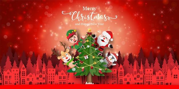 Kerst achtergrond banner van de kerstman en vriend in de stad