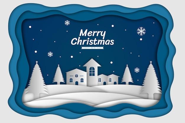 Kerst achtergrond blauw papier knippen stijl