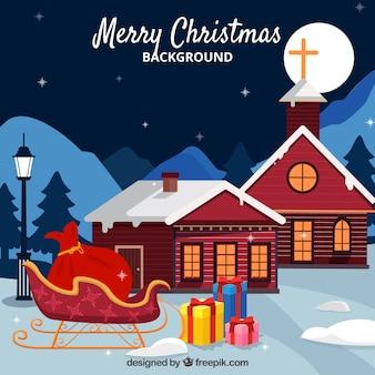 Kerst achtergrond con casas y trineo