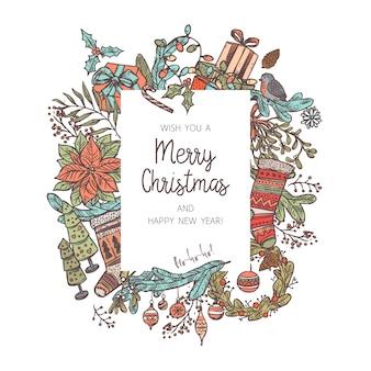 Kerst achtergrond gemaakt met verschillende feestelijke pictogrammen en elementen. schets tekening