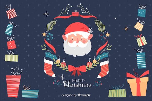 Kerst achtergrond in de hand getekende stijl