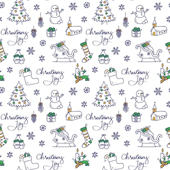 Kerst achtergrond in doodle stijl