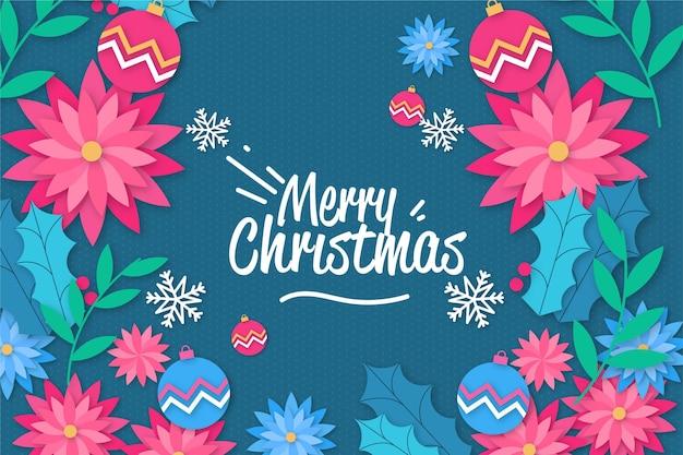 Kerst achtergrond in papier stijl met bloemen