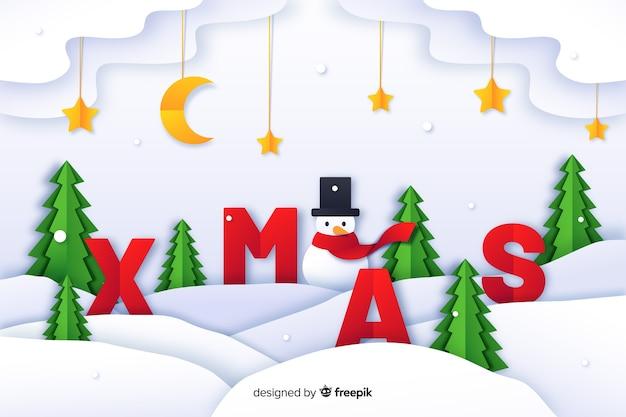 Kerst achtergrond in papier stijl