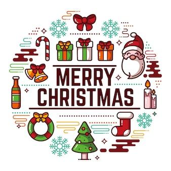 Kerst achtergrond in plat ontwerp