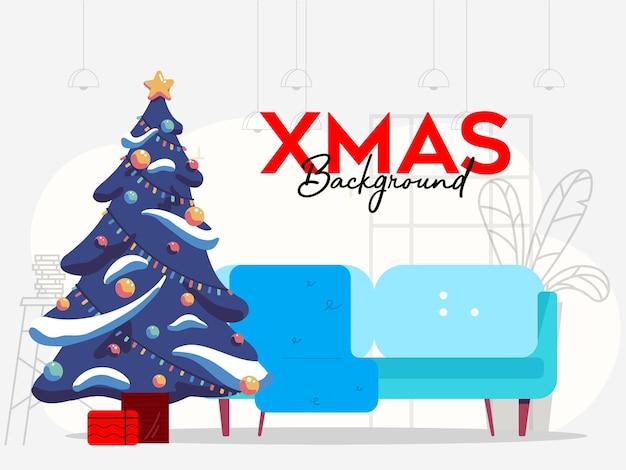 Kerst achtergrond indoor met bank en kerstboom