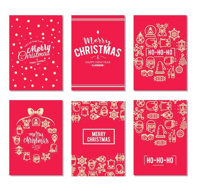 Kerst achtergrond instellen met plat pictogrammen.