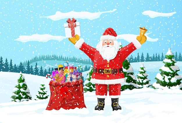 Kerst achtergrond. kerstman met tas met geschenken. winterlandschap met dennenbossen en sneeuwt. gelukkig nieuwjaarsfeest. nieuwjaar kerstvakantie.