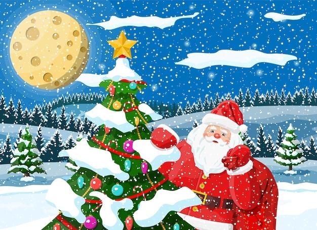 Kerst achtergrond. kerstman met tas met geschenken