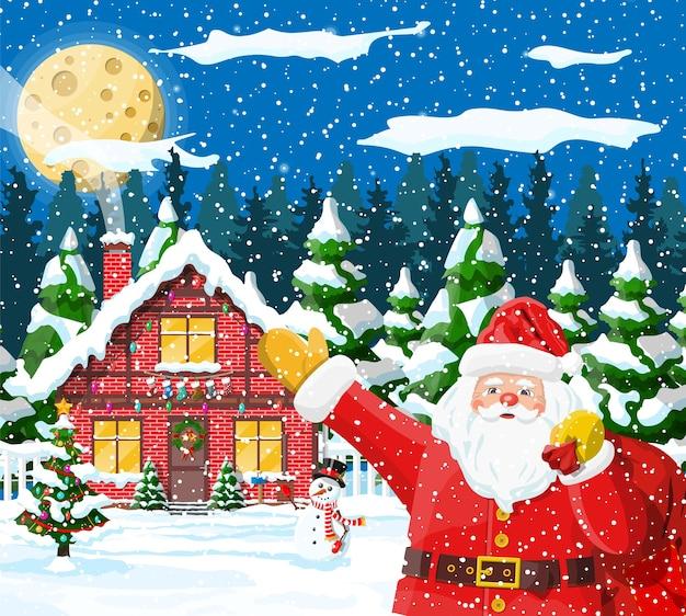 Kerst achtergrond. kerstman met zakgiften