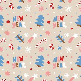 Kerst achtergrond met belettering, confetti, zuurstokken, sneeuwvlokken, kerstboom en sterren.
