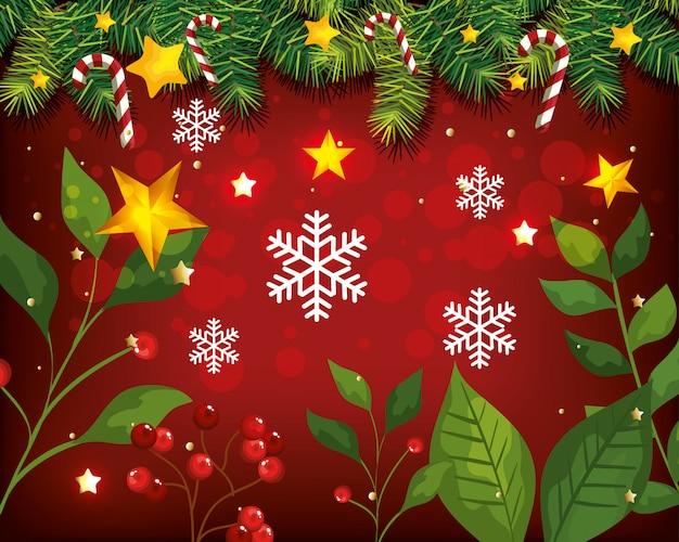 Kerst achtergrond met bladeren en decoratie
